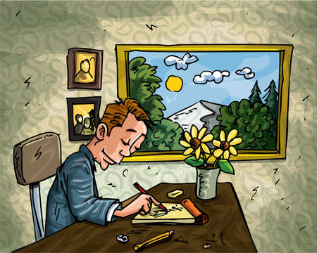 Cartoon man doodling at his desk. A window behind him overlooking countryside Stock Vector - 9630617