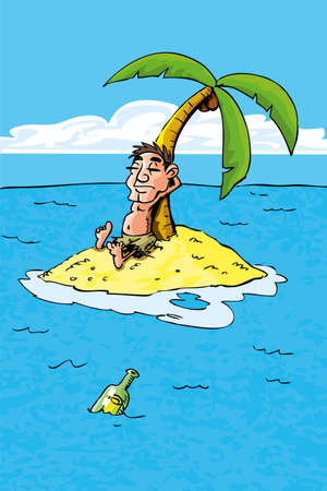 Cartoon of castaway on a desert island. bottle in the sea Illustration