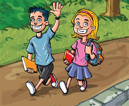 yellow character: Cartoon boy and girl going to school. Path and woods behind Illustration