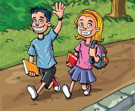 Cartoon jongen en meisje naar school te gaan. Pad en bos achter