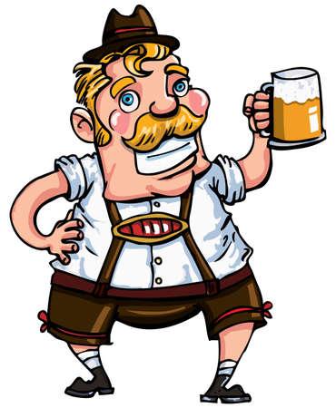 bigote: Hombre de dibujos animados con un lederhosen. Aislados en blanco