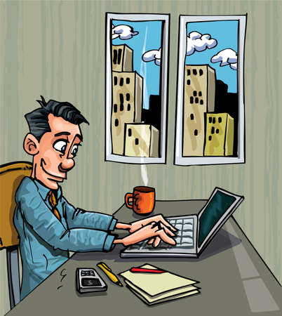 executive search: Cartoon office worker busy on his laptop at his desk