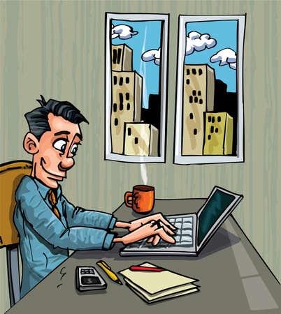equipos trabajo: Empleado de la Oficina de dibujos animados ocupado en su port�til en su escritorio