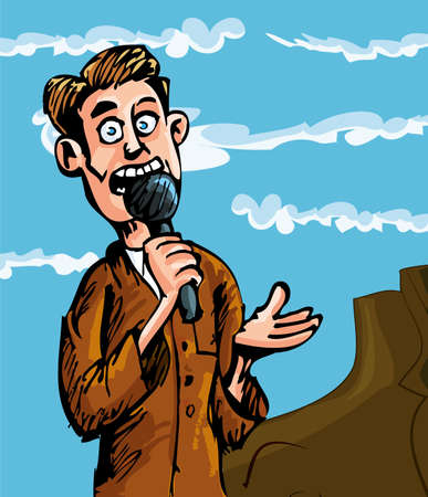 Cartoon reporter with a microphone. Sky and clouds behind Vector