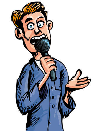 Cartoon reporter with a microphone. Isolated on white Illustration