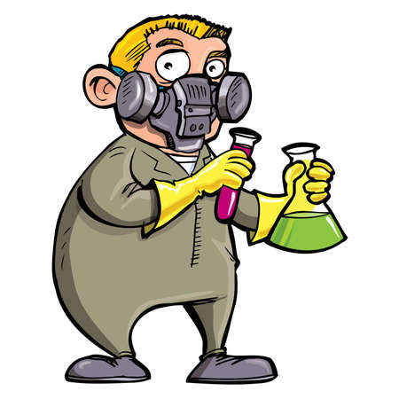 Cartoon Scientist experimenting with chemicals. Isolated on white Stock Vector - 9630620