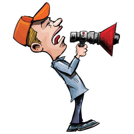 using voice: Cartoon man shouts through a megaphone. Isolated on white Illustration