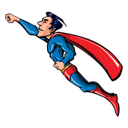 Cartoon flying superhero with cape . Isolated on white Stock Vector - 9630622
