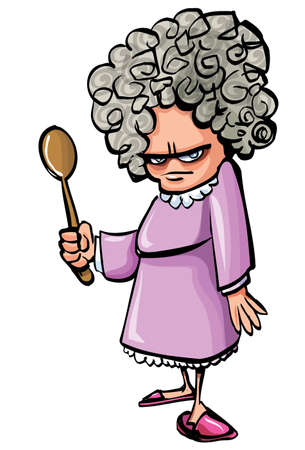 grey hair: Cartoon Angry old woman with a wooden spoon. Isolated Illustration