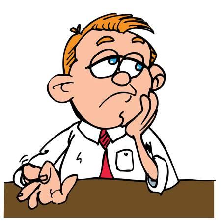 sales executive: Hombre de dibujos animados aburrido tocar sus dedos. Aislados en blanco