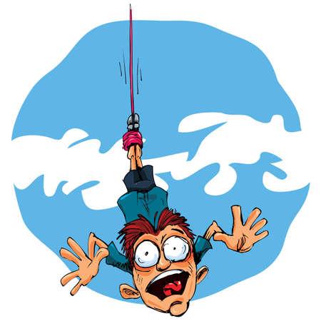 afraid man: Cartoon bungee jumper falling in fear. Blue sky behind