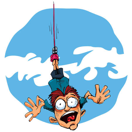 miedoso: Puente de bungee de dibujos animados en miedo. Azul cielo detr�s