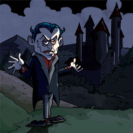 Cartoon illustration of Dracula and castle. Its dark night Vector