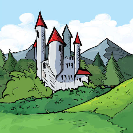 Illustration of Castle of in a forest. Sky behind Vector