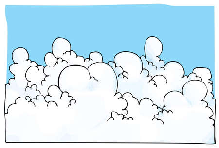 Cartoon illustration of Cloudscape with blue sky behind Vector