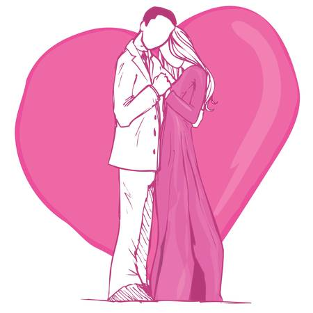 civil partnership: Valentines card design of couple in pink. Heart behind Illustration