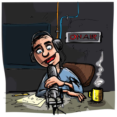 listening to people: Cartoon Talk radio presenter. Dark studio behind