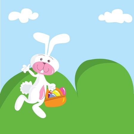 Cartoon Easter bunny with basket. Green hills behind Vector