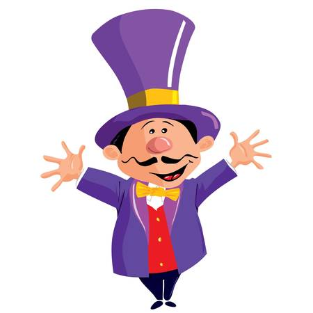commentator: Circus Ringmaster with a top hat isolated on white