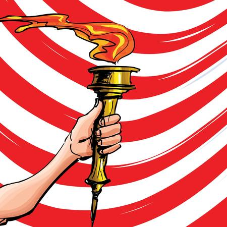 held: Cartoon of a sports competition torch held high. Red stripes behind