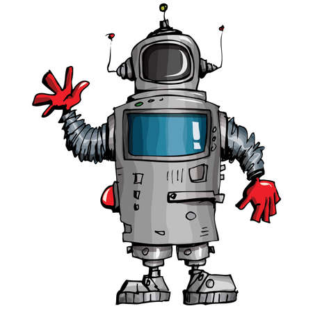 Robot de dibujos animados agitando su mano. Aislados en blanco Vectores