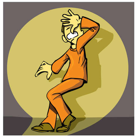 prison break: Cartoon prisoner caught in a searchlight beam. Wall behind Illustration