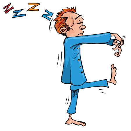 żartować: Sleepwalker kreskówek z rÄ…k znajdujÄ…cych siÄ™ z przodu. Samodzielnie na biaÅ'y Ilustracja