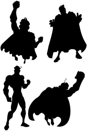 superpower: Silhouette of a set of superheros. Isolated on white