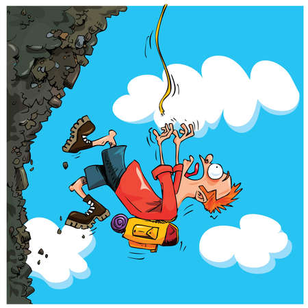 Cartoon Mountaineer falling of a mountain. Sky behind