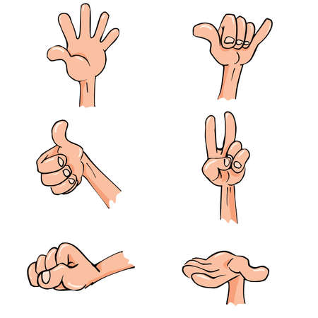 Set of Cartoon hands in everyday poses. Isolated on white Vector