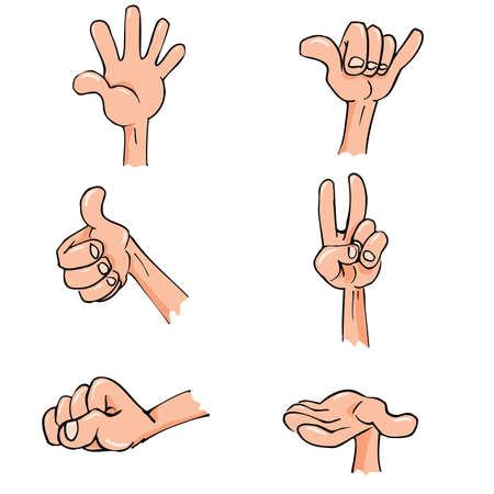 mindennapi: Set of Cartoon hands in everyday poses. Isolated on white Illusztráció
