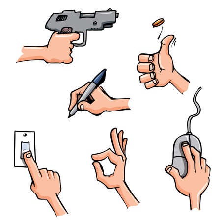 Set of Cartoon hands in everyday poses. Isolated on white Illustration
