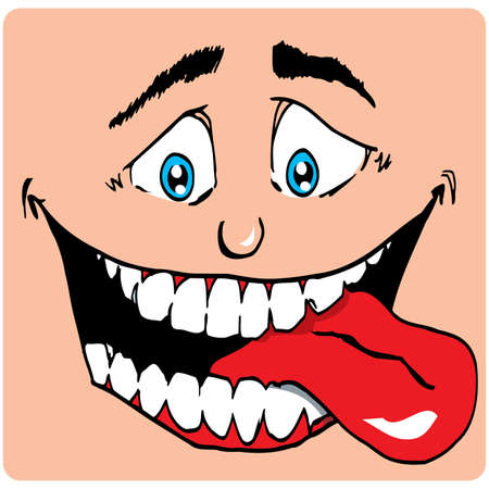 tongue out: Cartoon Face of man with a big mouth. His tongue sticks out. He is hungry