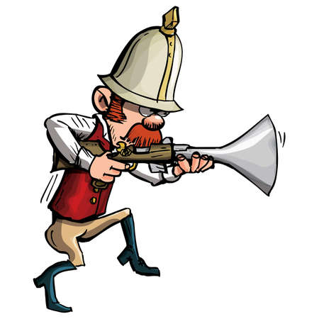 Cartoon hunter with a blunderbuss stalking. Isolated on white Stock Vector - 9701476
