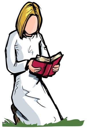 Mädchen mit einem Buch kniend. Isolated on white Standard-Bild - 9701464
