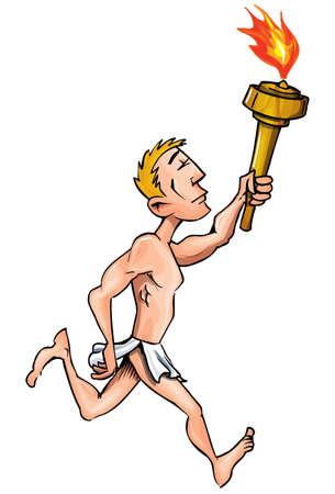carrera de relevos: Atleta olímpico de dibujos animados con la llama olímpica. Aislados en blanco