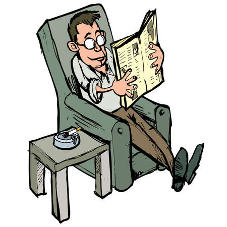 broadsheet: Cartoon in a lounge chair reading a newspaper with aash tray on the side table