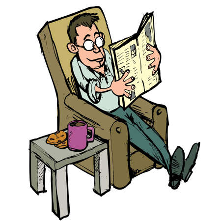 broadsheet: Cartoon in a lounge chair reading a newspaper with coffee on the side table