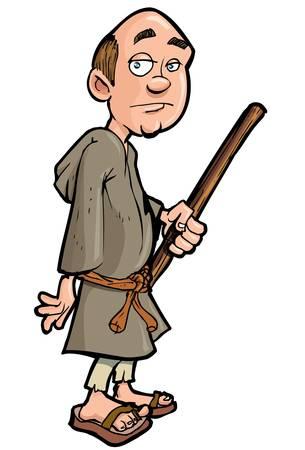 monasteri: Monaco di cartone animato con un bastone da passeggio. Isolato o bianco Vettoriali
