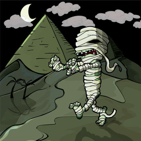 Scary cartoon Egyptian mummy in front of pyramids. Stock Vector - 9701514