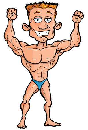 Cartoon body builder flexing his muscles. Isolated on white