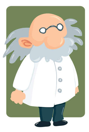 mathematician: Cartoon professor in lab coat and bushy mustache. Green square behind Illustration
