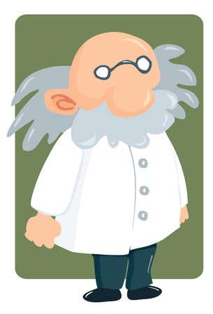 Professore di cartone animato in camice da laboratorio e baffi folti. Quadrato verde dietro