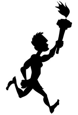jogging track: Silhouette sports competition athlete running with sports competition flame.Isolated Illustration