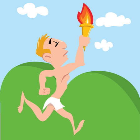 Cartoon Olympic athlete running with Olympic flame. Landscape behind Vector