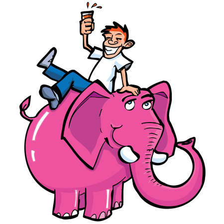 animal abuse: Cartoon drunk man riding a pink elephant. Isolated on white