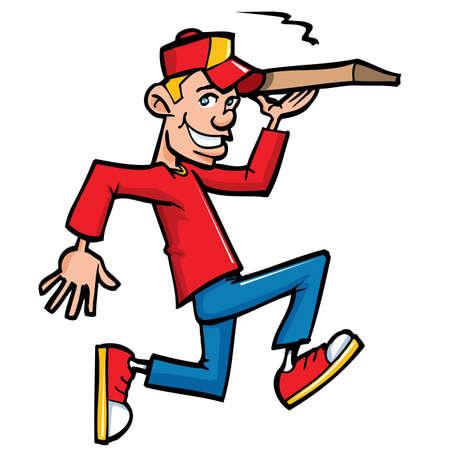 Dibujos animados de ejecución repartidor de pizza. Aislados en blanco