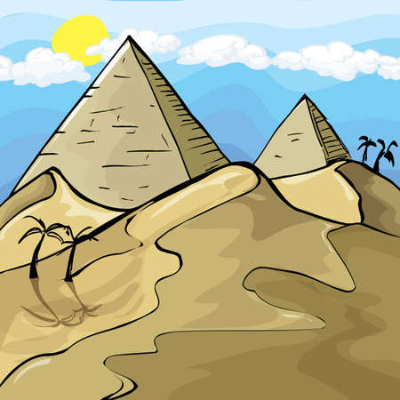 Illustration of Egyptian Pyramids. Sky and sun behind Ilustração