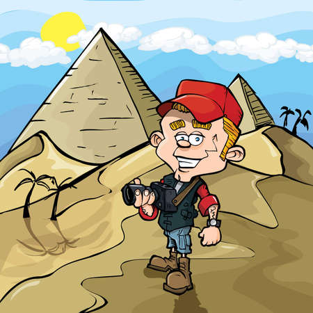 Cartoon photojournalist in Egypt. Pyramids behind him Vector