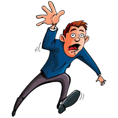 Hombre de dibujos animados que ejecutan y alcanzando hacia adelante. Aislados en blanco